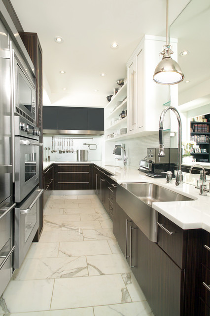 kitchen contemporary galley kitchen idea in toronto with a farmhouse sink and stainless steel appliances - Galley Kitchen