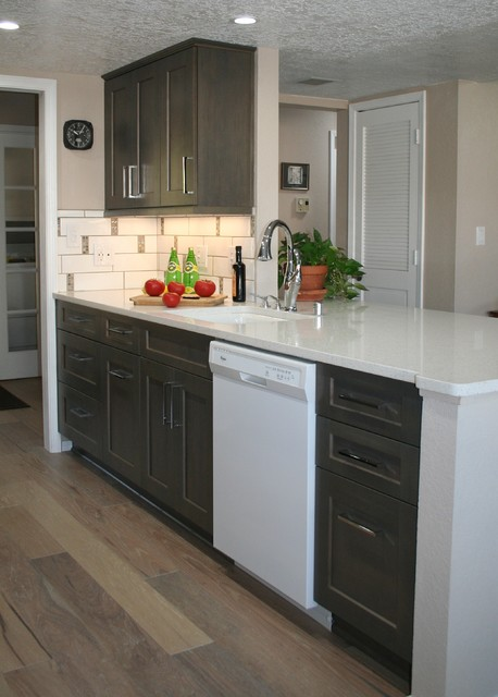 Galley kitchen with peninsula transitional kitchen for Galley kitchen designs with peninsula