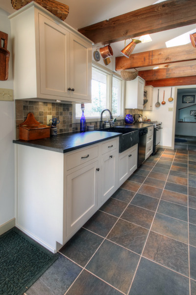 White Country Galley Kitchen galley white country kitchen - traditional - kitchen