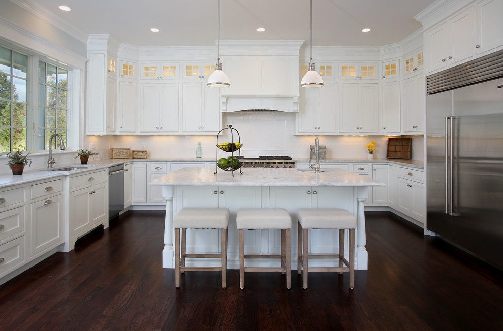 Gambrel Style Home Newton Ma Traditional Kitchen Boston By Benchmark Builders Inc