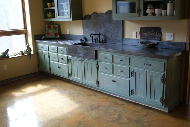 Garden Sink Eclectic Kitchen Charlotte by BDWG Concrete Studio