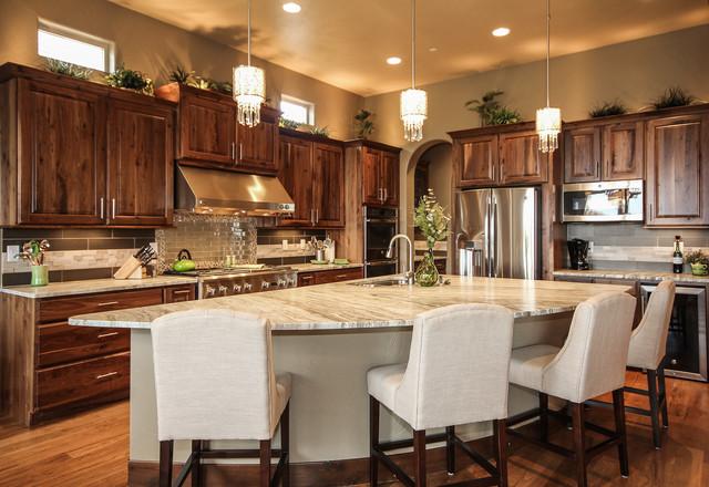 GCLuxury homes Denver Colorado Rustic Walnut traditional-kitchen