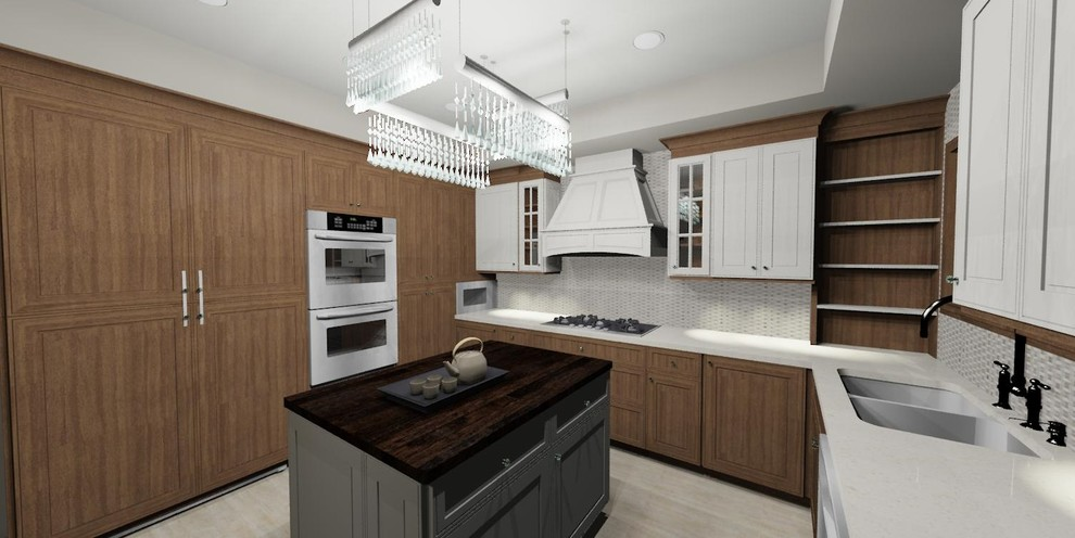 Eat-in kitchen - mid-sized transitional u-shaped porcelain tile eat-in kitchen idea in Chicago with an undermount sink, raised-panel cabinets, medium tone wood cabinets, quartz countertops, beige backsplash, glass tile backsplash, stainless steel appliances and an island