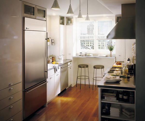Ge monogram galley kitchen transitional kitchen for Galley kitchen refrigerator