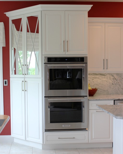 Geneseo il painted white kitchen with mirrored cabinets for Full height kitchen units
