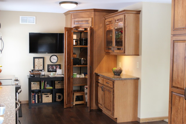 Kitchen pantry in other with an undermount sink raised panel cabinets - Geneseo Il Rustic But Refined Traditional Kitchen
