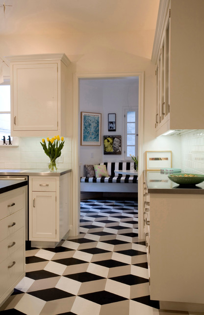 Geometric Floor Modern Kitchen Los Angeles By
