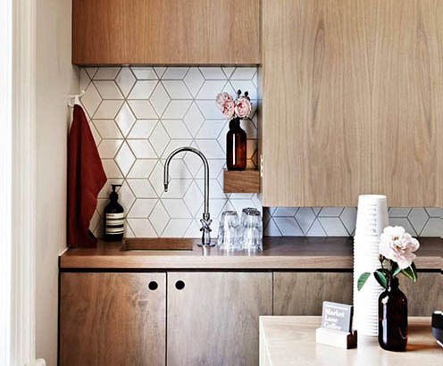 Geometric Tiles Midcentury Kitchen Auckland By