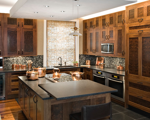 Brown Kitchen Cabinets Countertop Ideas in Pictures: