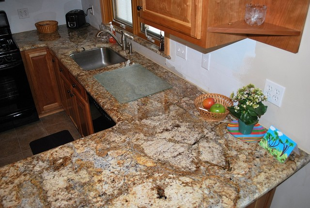 Geriba Gold kitchen - Traditional - Kitchen - other metro - by TZ Granite & Materials LLC