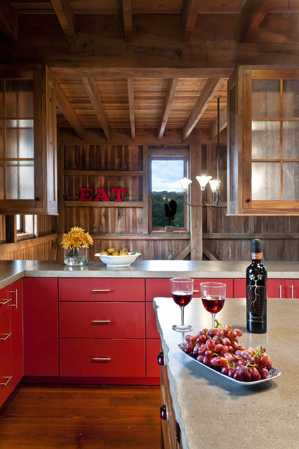 German style bank barn conversion farmhouse kitchen for Barn style kitchen cabinets