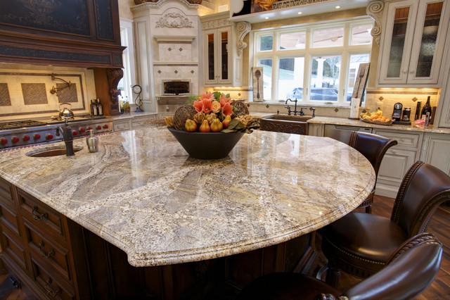 Giallo Capela Granite With Cove Dupont Edgemediterranean Kitchen Boston