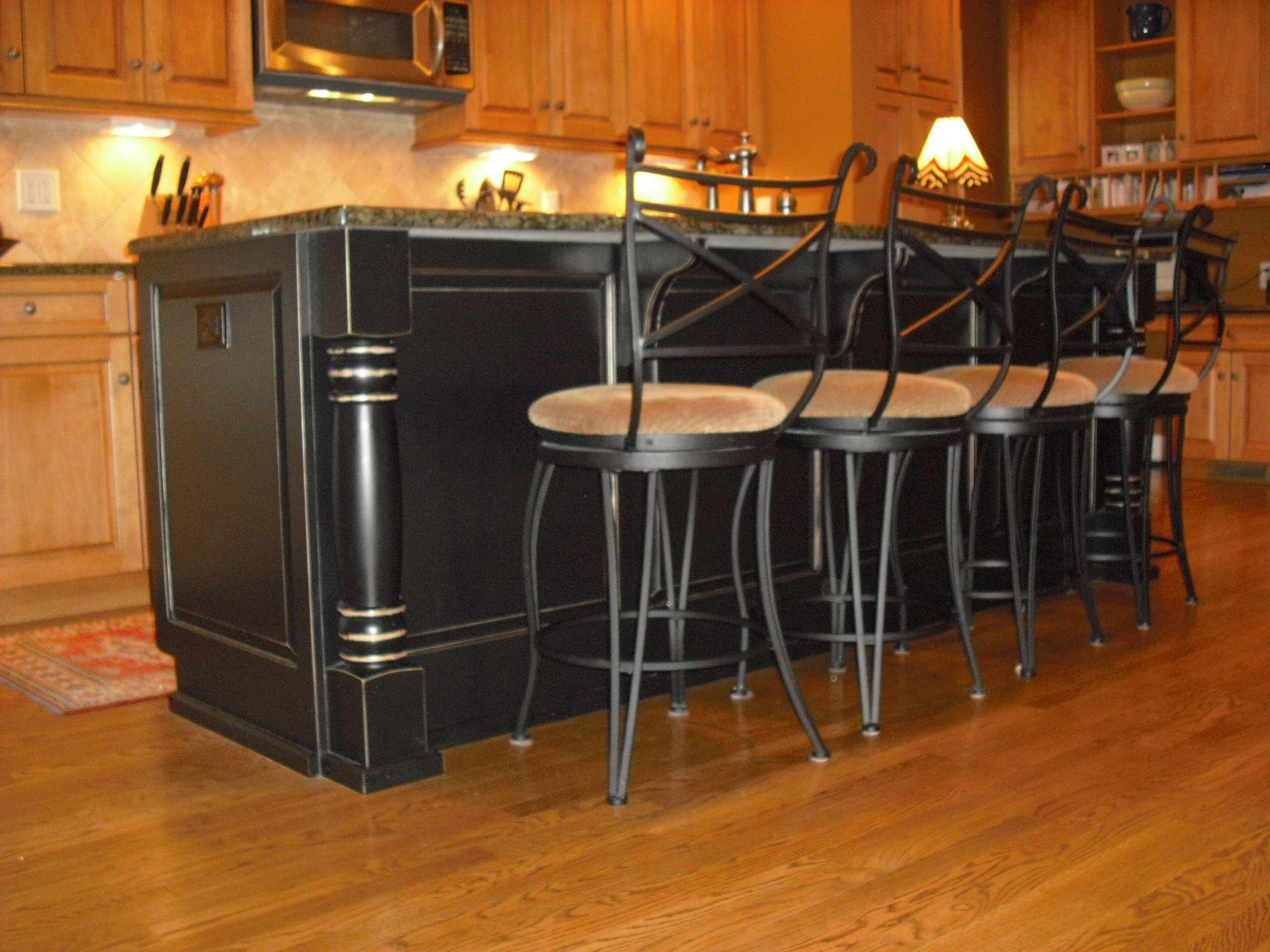 Ginger Maple Kitchen with Black Antique Island