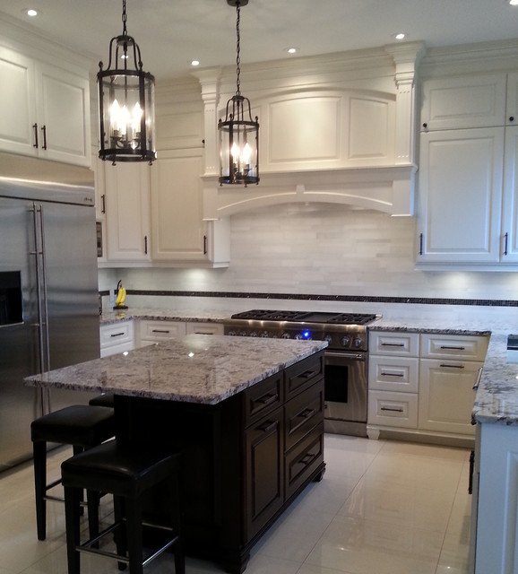 Glacier White Marble Tile Mediterranean Kitchen