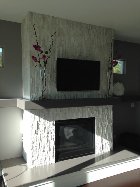 Glacier White Stone Fireplace Surround Contemporary