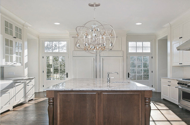 pendant crystal chandelier contemporary kitchen new york by we