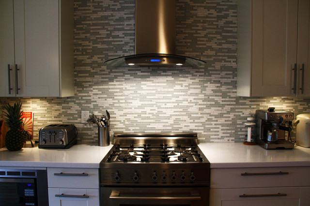 glass and marble mosaic tile backsplash contemporary