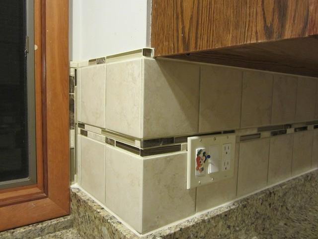 glass and stone accent tile backsplash asian kitchen
