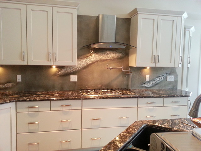 glass backpainted backsplash transitional kitchen calgary by