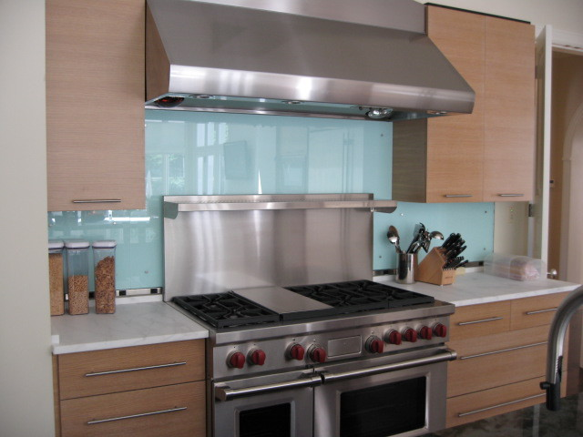 Glass Backsplash Modern Kitchen other metro