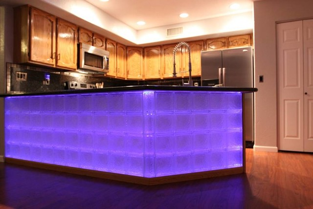 Glass Block Bar Contemporary Kitchen Cleveland By