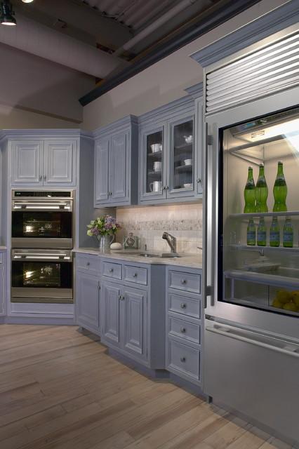 Glass Door Sub Zero In Cape Cod Kitchen