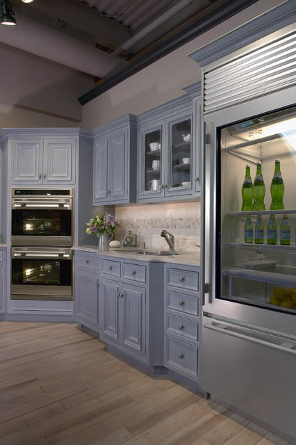 Glass Door Sub Zero In Cape Cod Kitchen Transitional Kitchen