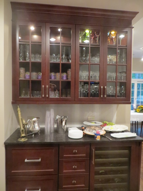 glass doored butler pantry; refrigerator drawers and wine cooler