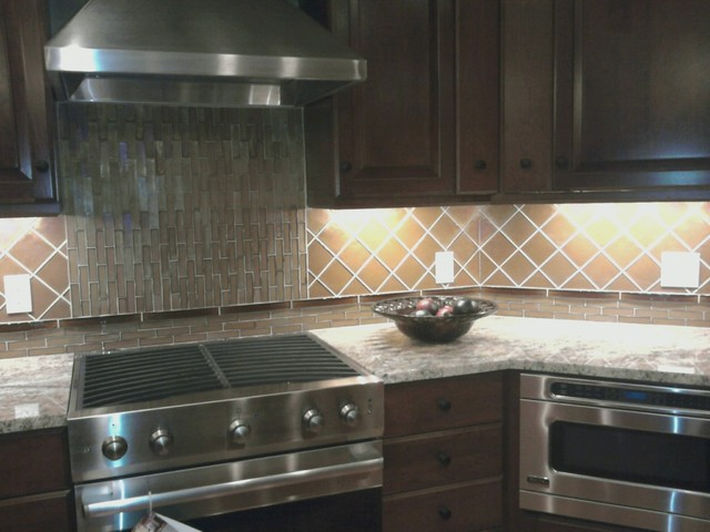 Glass Kitchen Backsplash Modern Kitchen other metro