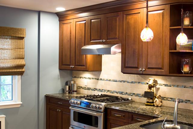 glass mosaic backsplash behind range traditional kitchen other