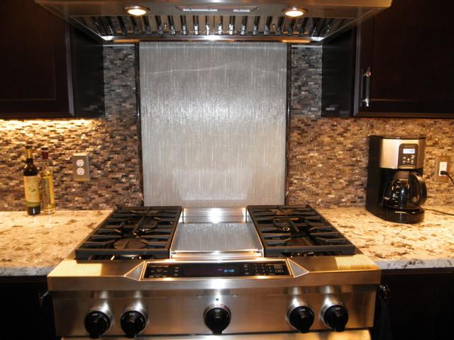 glass panel backsplash contemporary kitchen