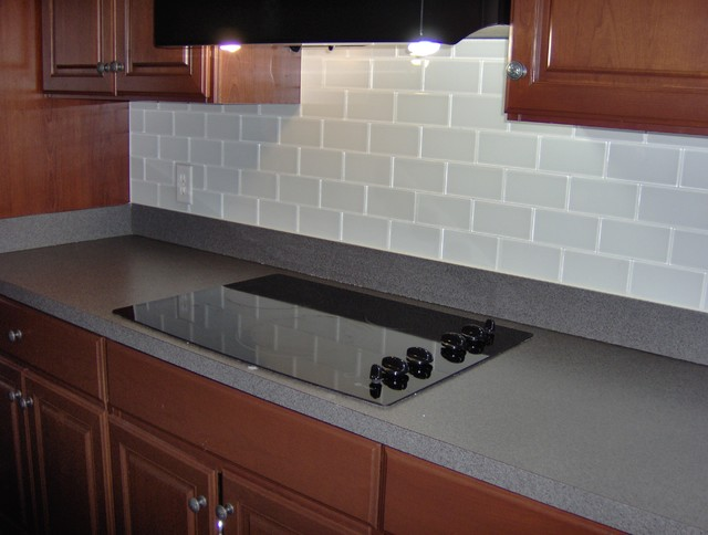 Glass subway tile back splash - Traditional - Kitchen - Wilmington ...