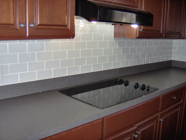 Glass subway tile back splash traditional-kitchen