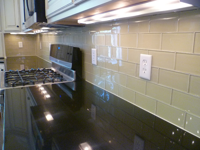 Kitchen Backsplash Subway Tile glass subway tile kitchen backsplash - contemporary - kitchen