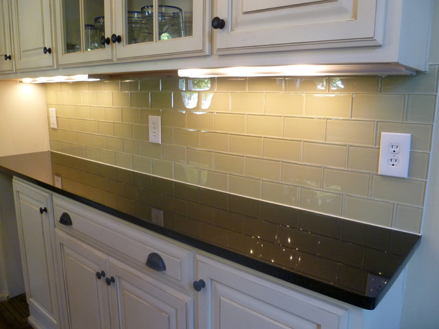Glass Subway Tile Kitchen Backsplash Contemporary Kitchen