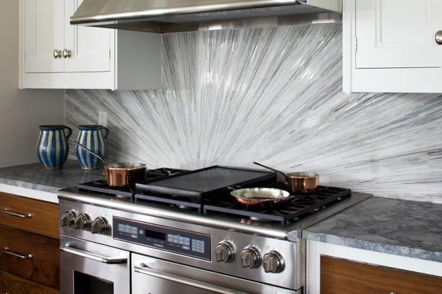 Glass Tile Backsplash Contemporary Kitchen