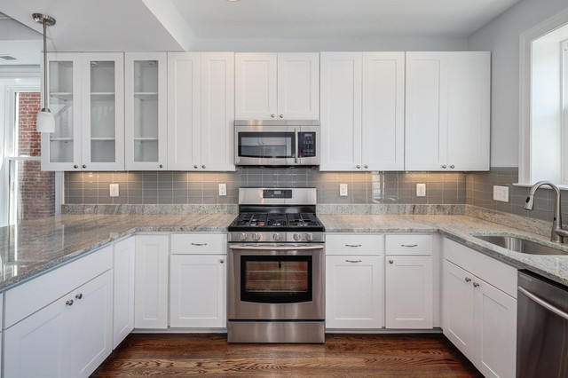Grey Glass Tile Backsplash Houzz