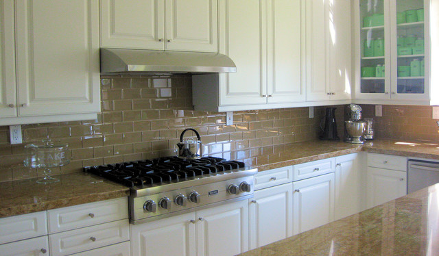 Gl Tile Backsplashes By Subwaytileoutlet Transitional Kitchen This Tan Colored Subway