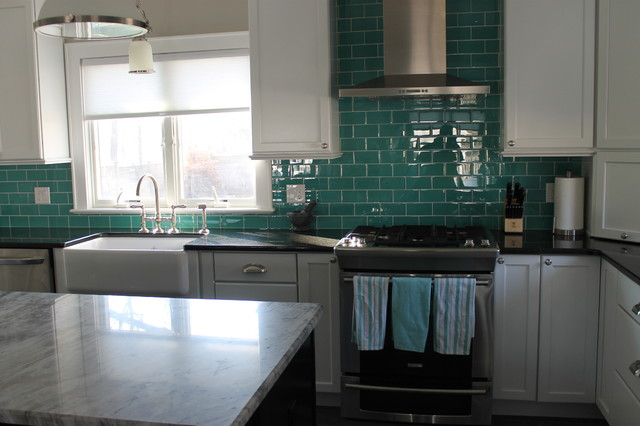 Subway tiles in bathrooms - Glass Tile Backsplashes Traditional Kitchen Other