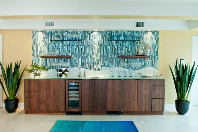 Glass Tile Bar Modern Kitchen Miami By Allied