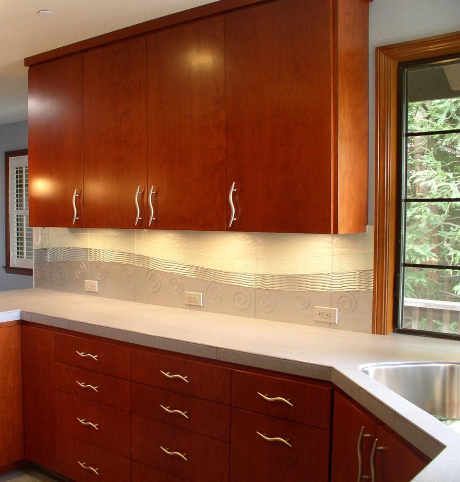 - Glass Tile Custom Backsplash - Contemporary - Kitchen - San