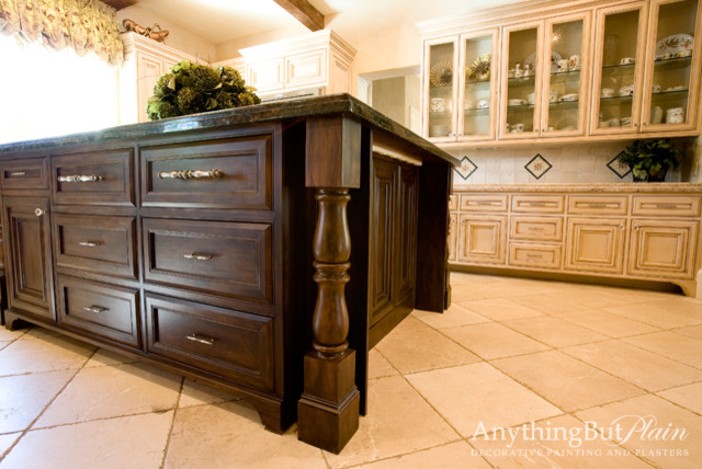 Glazed cabinets with faux bois island kitchen houston for Kitchen island houston