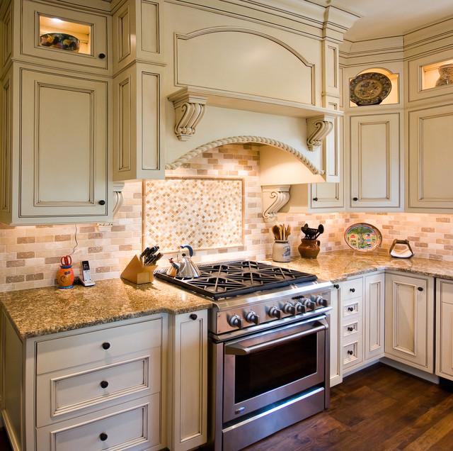 Glazed Kitchen With Contrasting Island
