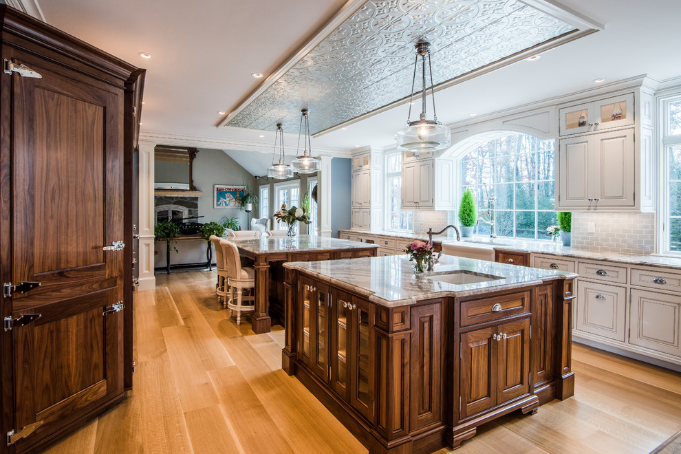 Glazed White Kitchen Cabinet With Walnut Islands And Pantry Traditional Kitchen Boston By K International Woodworking