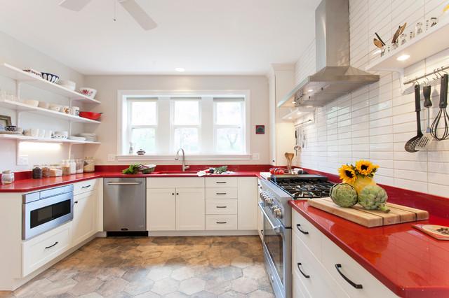 White Cabinets Red Countertops Farmhouse Kitchen