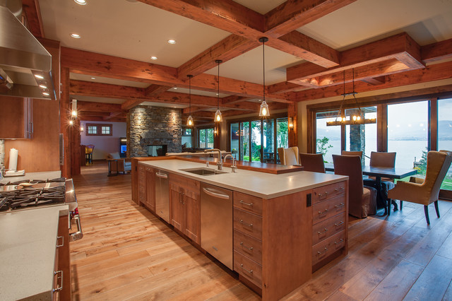 Private kelowna residence rustic kitchen other metro for Kitchen cabinets kelowna