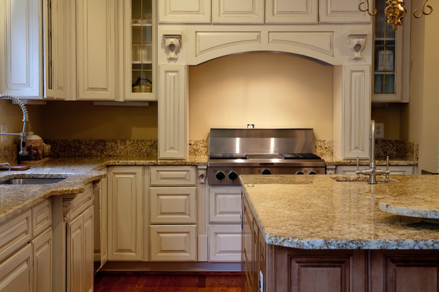 Golden beach granite kitchen traditional dc