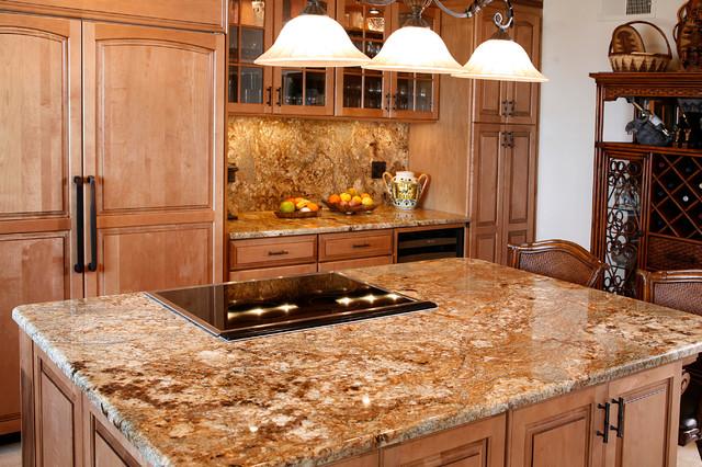 Golden Crystal Granite Islandtraditional Kitchen San Go