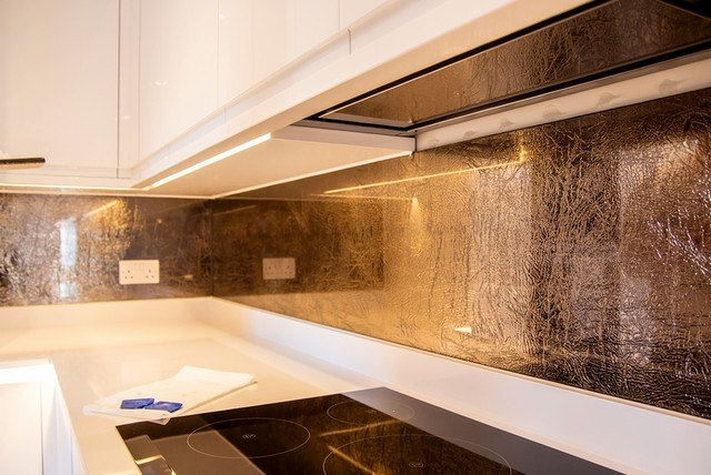 Quot Golden Glass Quot Luxurious Kitchen Splashback Modern