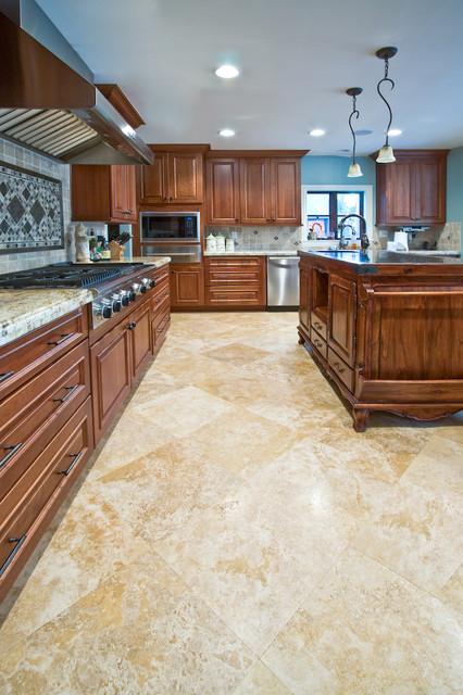 Golden Ivory Travertine Tiles Traditional Kitchen